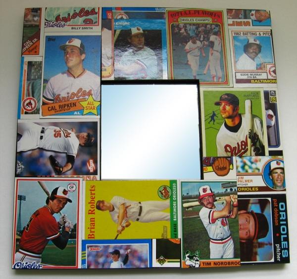 Baltimore Orioles Baseball Card Collage Mirror