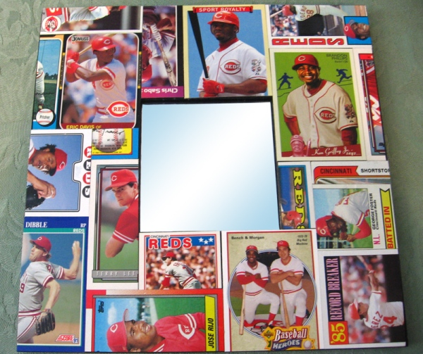 Cincinnati Reds Baseball Card Collage Mirror