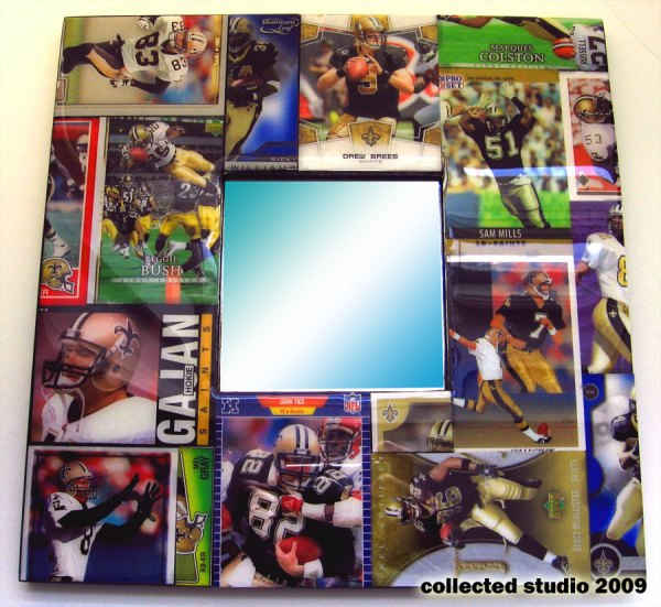 New Orleans Saints Football Card Collage Mirror