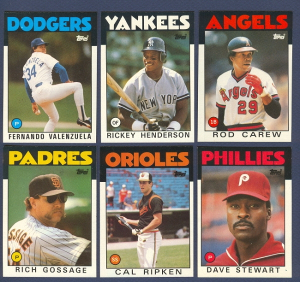 Cards pulled from a box of 1986 Topps.